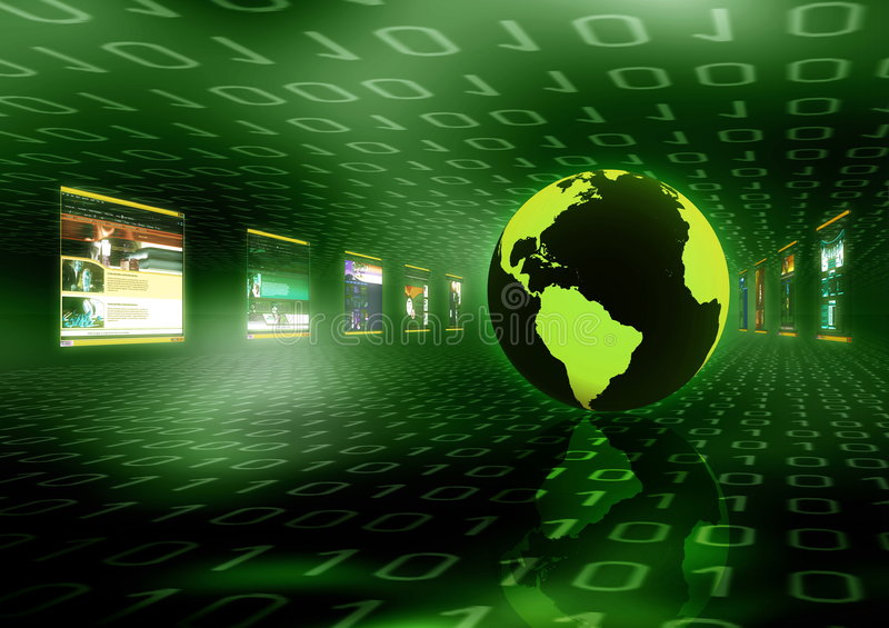 Internet Concept. A concept of worlwide information room in internet