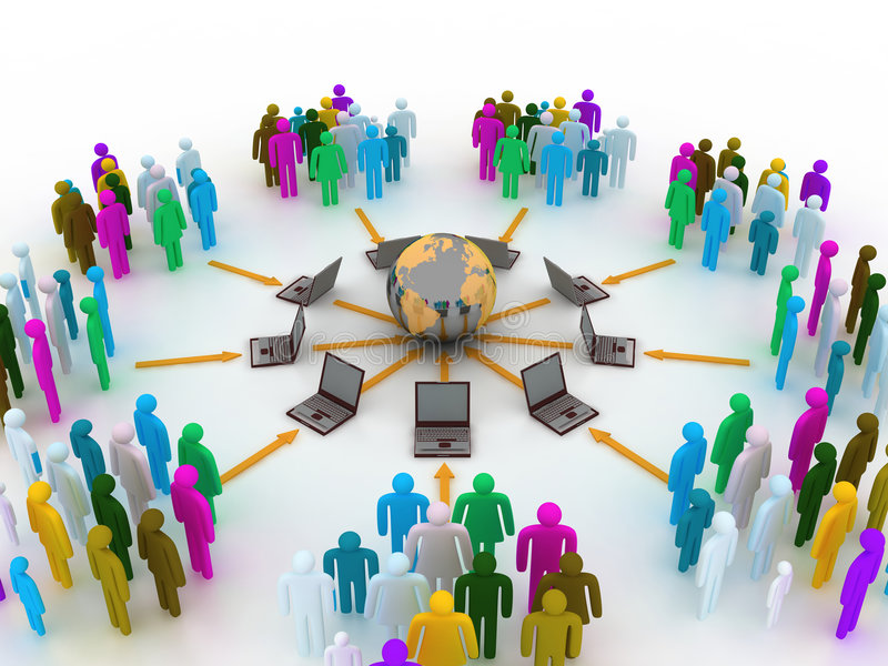 Internet concept. A people connected to internet stock illustration