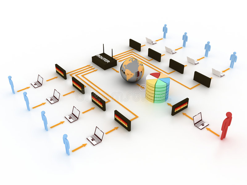 Internet concept. People connected to database and internet with control of an adminstrator royalty free illustration