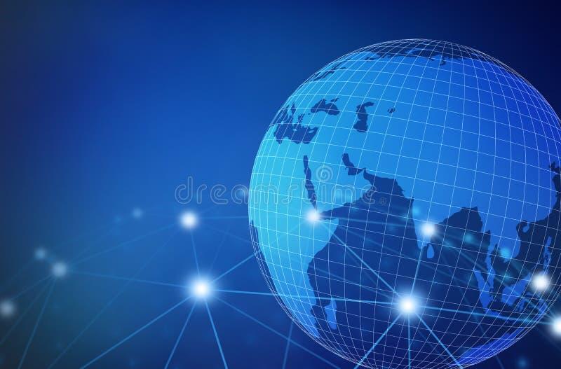 Internet Concept of global business, connection symbols communication lines, 3d illustration.  stock illustration