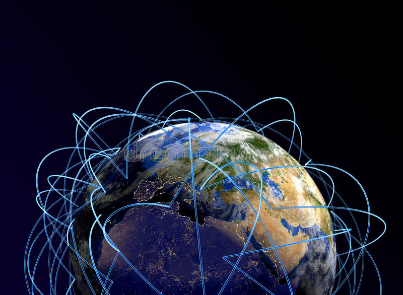 Internet Concept of global business. Main air routes in Europe, Africa, Asia. 3d render. `Elements of this image furnished by NASA stock illustration