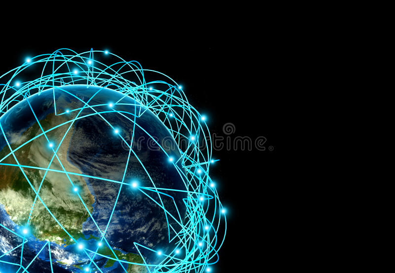 Internet Concept of global business and major air routes based on real data stock photos