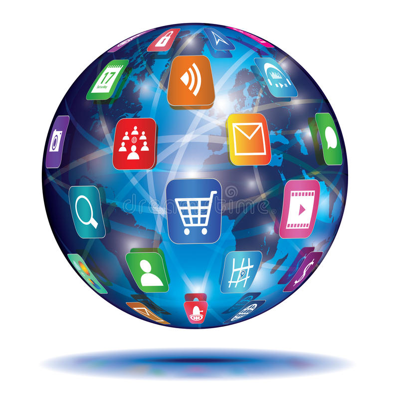 Free Internet Concept. Globe. Application Icons. Royalty Free Stock Photography - 34549517