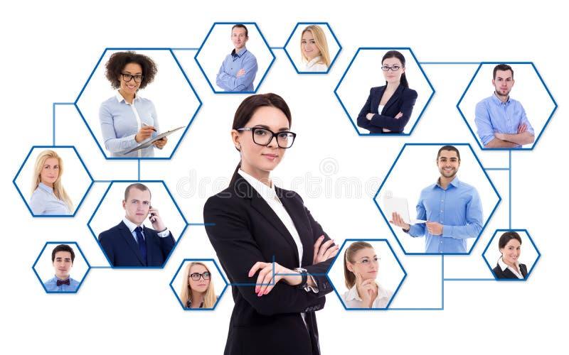 Internet-concept - jonge bedrijfsvrouw en haar sociaal netwerk i royalty-vrije stock afbeelding
