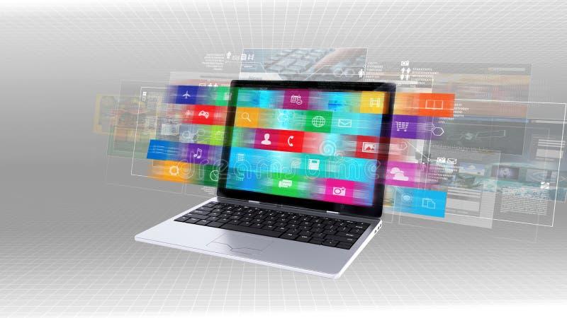 Internet concept on a laptop royalty free illustration