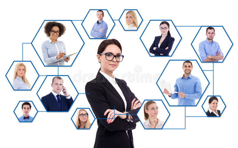 Internet concept - young business woman and her social network i royalty free stock image