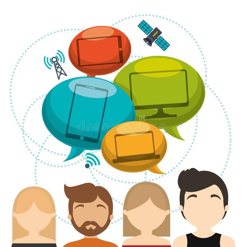 Internet conectado do satélite do dispositivo da tecnologia de grupo ilustração royalty free