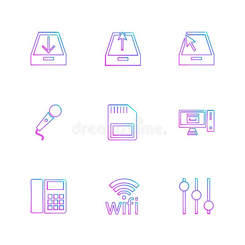 Internet , connecetivity , network , equlilizer , eps icons set. Internet , connecetivity , network , equlilizer , battery , cell , wifi , sim , microphone royalty free illustration
