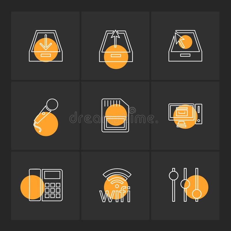 Internet , connecetivity , network , equlilizer , eps icons set. Internet , connecetivity , network , equlilizer , battery , cell , wifi , sim , microphone stock illustration