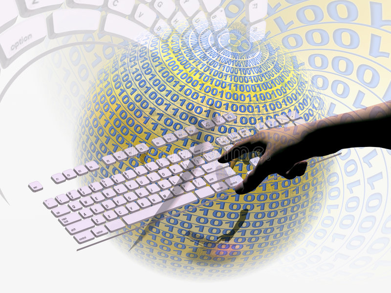 Internet, connection. A free interpretation of an internet connection via keyboard, data streams. Communication concept stock illustration