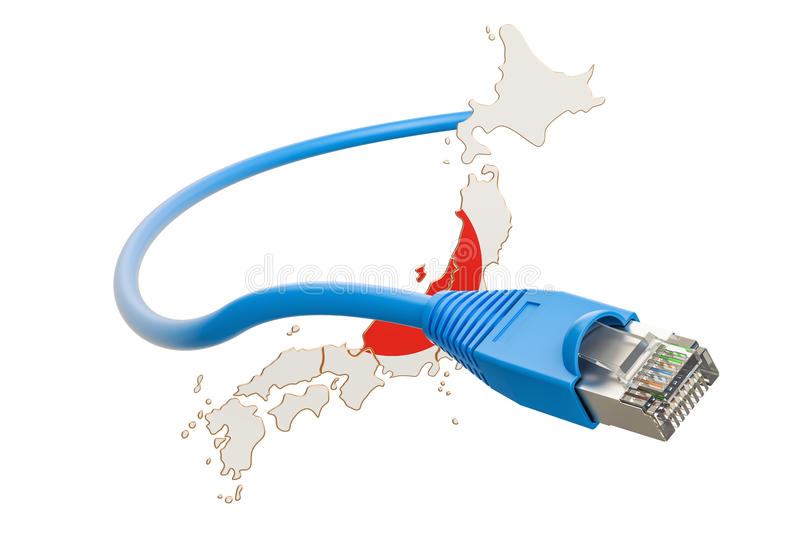 Internet connection in Japan concept. 3D rendering. Isolated on white background royalty free illustration