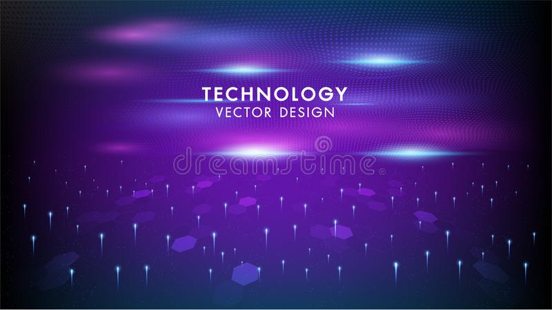 Internet connection networking vector abstract futuristic background.Illustration high computer technology dark blue and purple royalty free illustration