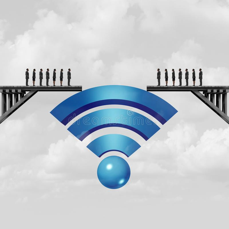 Internet Connectivity Communication. Internet connectivity and web connection concept or online solution symbol as a wifi symbol bridging the gap to connect vector illustration