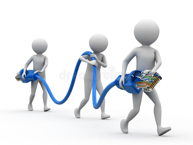 Internet Connectivity Team. Illustration of team of people carrying an Internet cord stock illustration