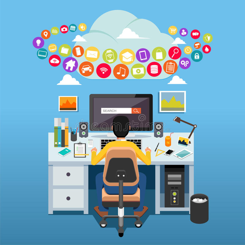 Internet contents concept. Man sitting on chair at table in front of computer monitor accessing internet. stock illustration