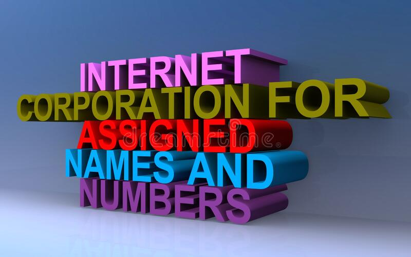 Internet corporation for assigned names and numbers. On blue royalty free illustration