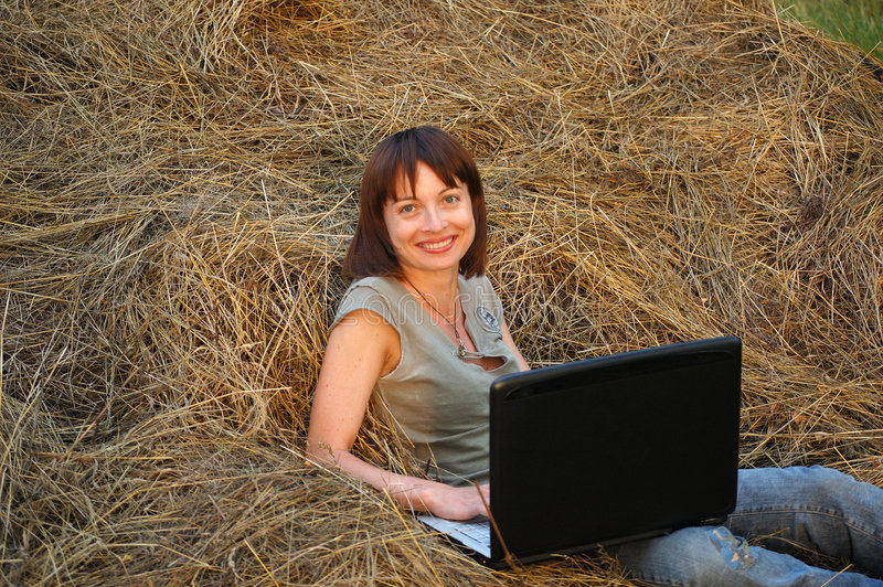 Internet on countryside stock images