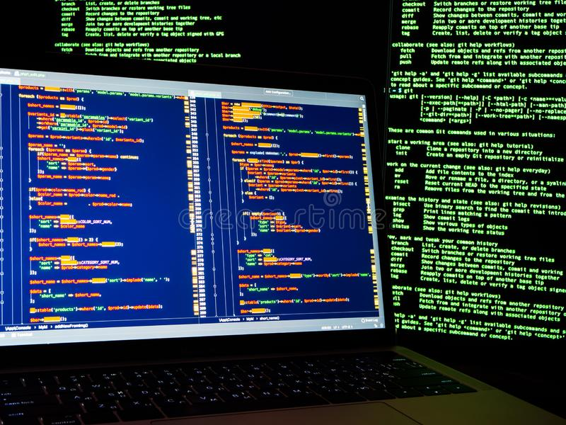 Internet crime concept. Hacker working on a code on dark digital background with digital interface around. Hacker workspace vector illustration