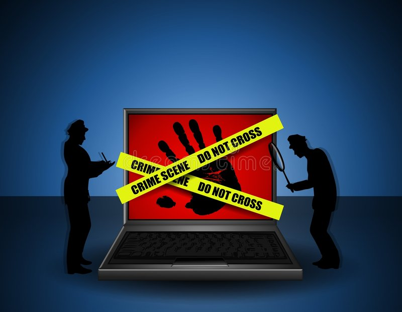 Internet Crime Scene Investigators. An illustration featuring a laptop computer with a black handprint on the screen and wrapped in yellow crime scene tape. This