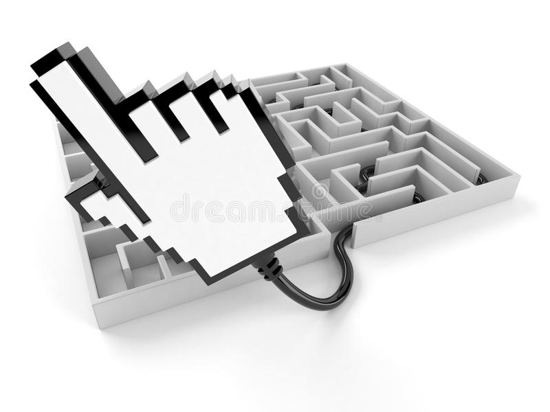 Internet-Cursor mit Labyrinth vektor abbildung