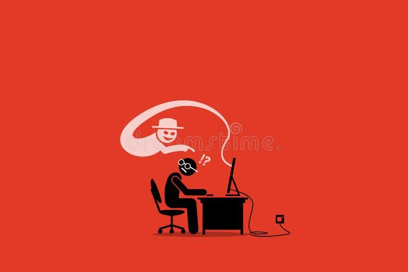 Internet Cyber Scammer, das versucht, einen Internetnutzer zu betrügen vektor abbildung