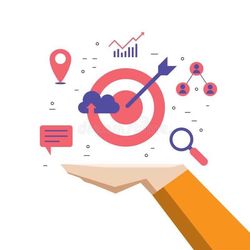 Internet d'affaires lançant sur le marché à disposition, seo réussi de planification de stratégie illustration libre de droits