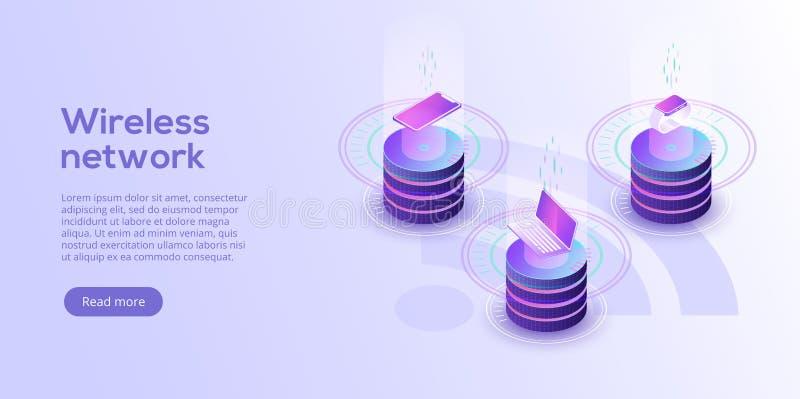 Internet da disposição das coisas Sincronização em linha e connec de IOT ilustração royalty free