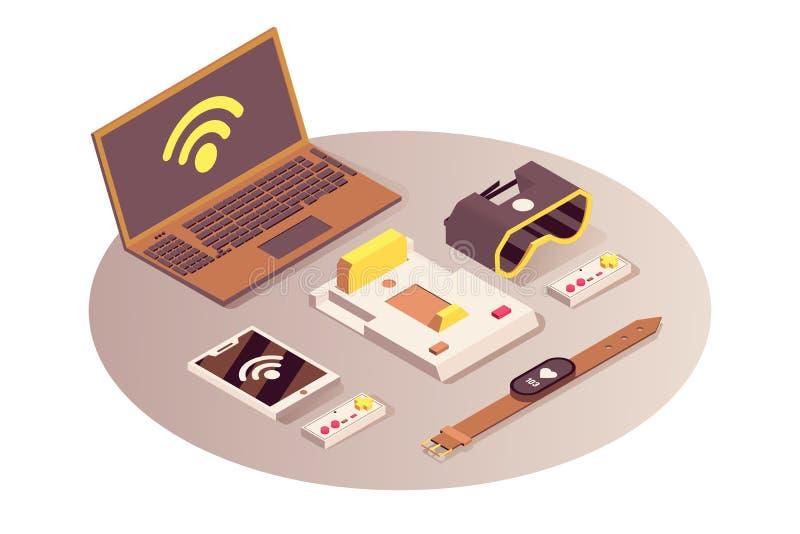 Internet da ilustração isométrica do vetor das coisas Serviço de computação da nuvem, conexão sem fio do wifi, telecomunicação ilustração do vetor