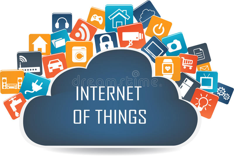 Internet das coisas conceito e da tecnologia informática da nuvem ilustração royalty free