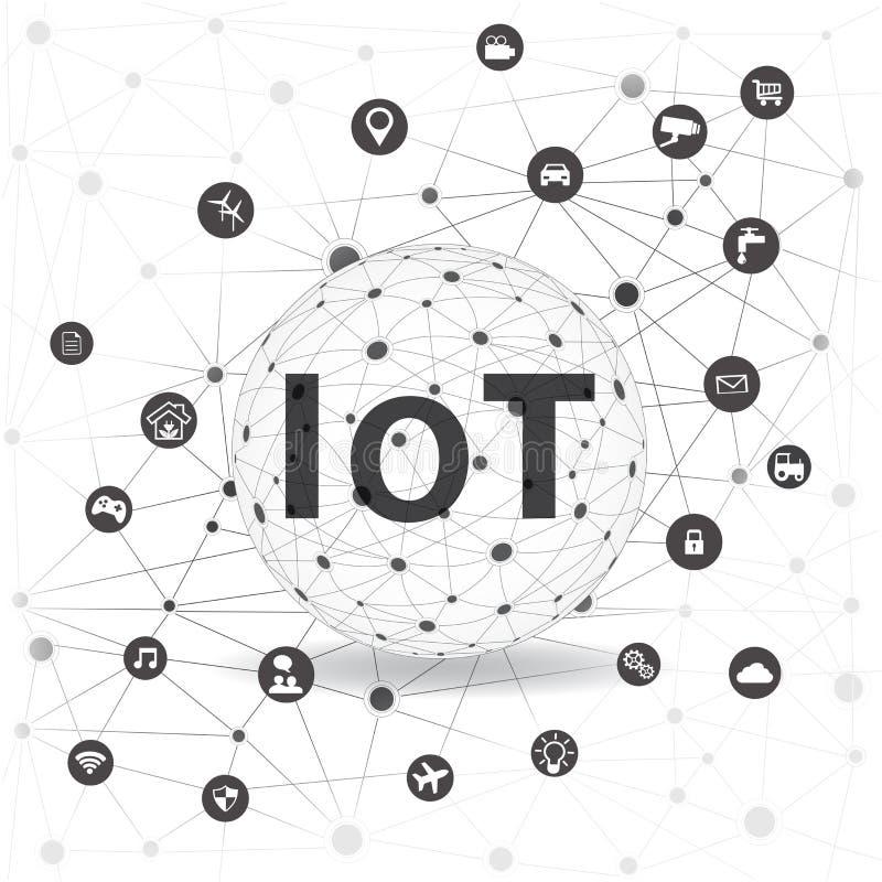 Internet das coisas conceito e da tecnologia informática da nuvem ilustração stock