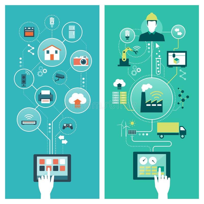 Internet das coisas e da indústria esperta ilustração do vetor