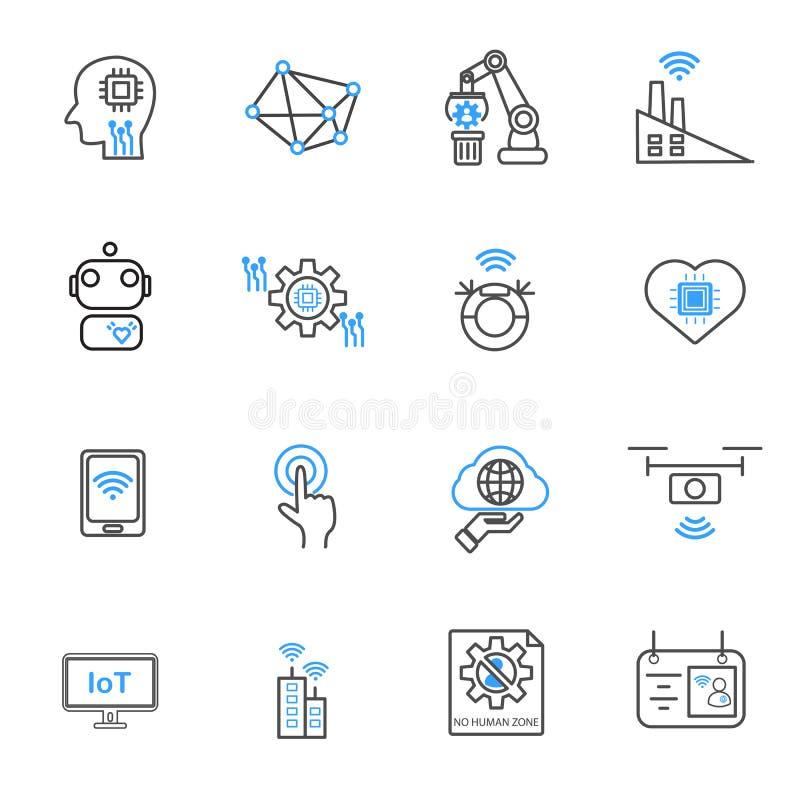 Internet das coisas e de ?cones rob?ticos da automatiza??o Tecnologia e conceito futurista Grupo da cole??o do vetor da ilustra?? ilustração stock