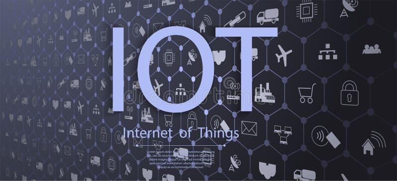 Internet das coisas IOT, dos dispositivos e dos conceitos da conectividade em uma rede, nuvem no centro ilustração do vetor