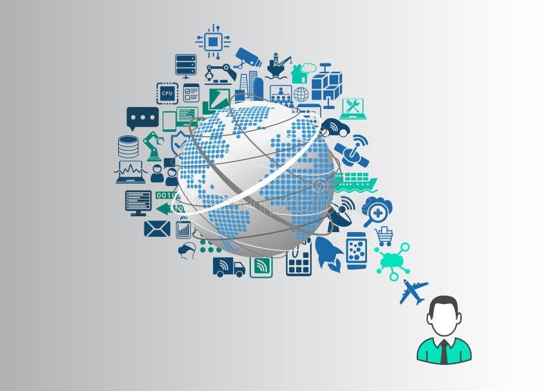 Internet das coisas (IOT) e do conceito digital do estilo de vida ilustração do vetor