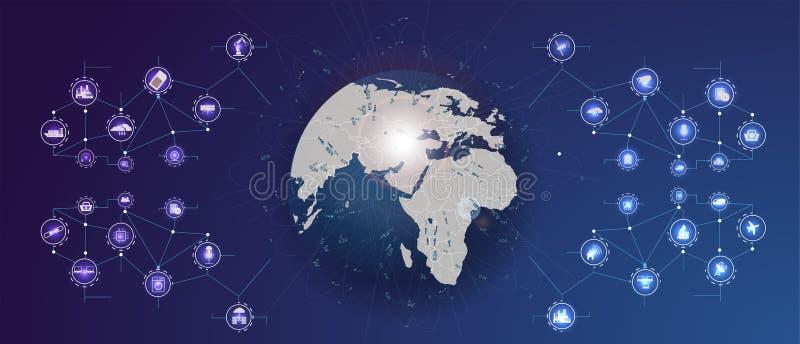 Internet das coisas IoT e do conceito dos trabalhos em rede para dispositivos conectados Futurista ilustração royalty free