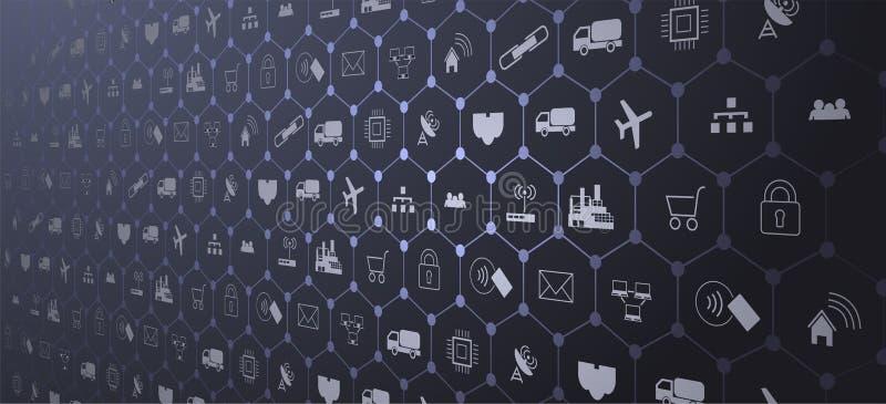 Internet das coisas IoT e do conceito dos trabalhos em rede para dispositivos conectados Web de aranha de conexões de rede ilustração stock