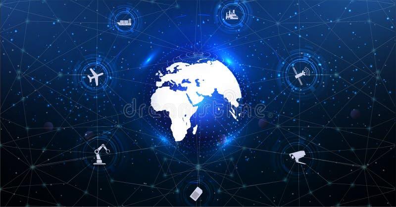 Internet das coisas IoT e do conceito dos trabalhos em rede ilustração stock