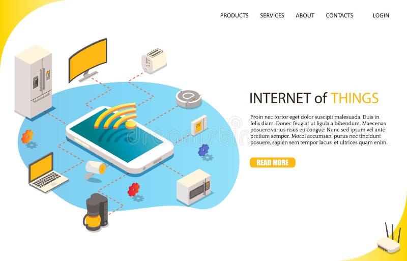Internet das coisas que aterram o molde do vetor do Web site da página ilustração do vetor