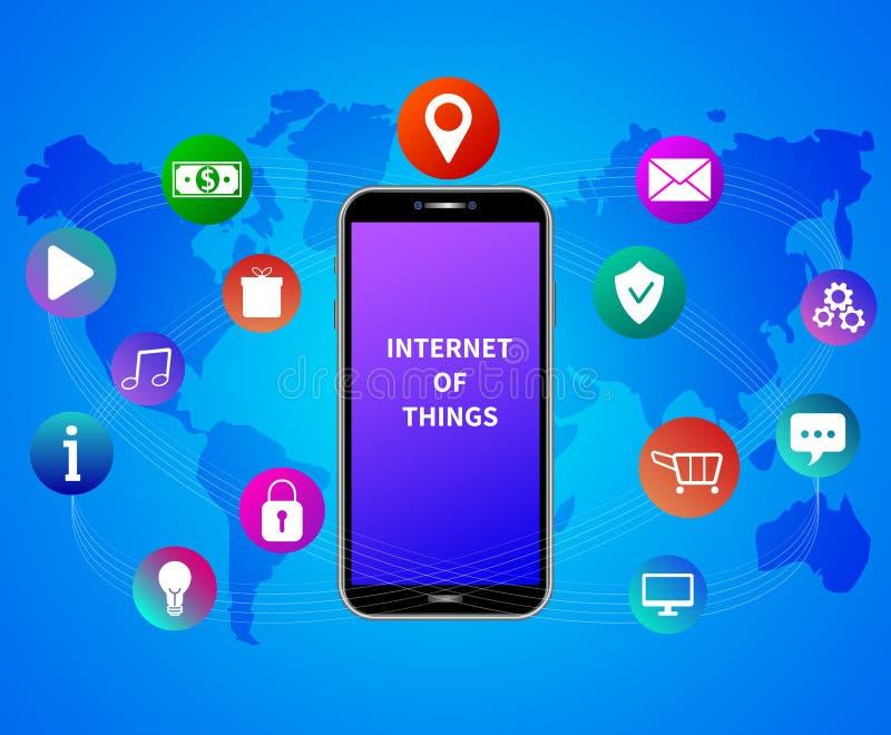 Internet das coisas Servi?os m?veis Tecnologia do app da nuvem Smartphone com ícones sociais coloridos dos meios no fundo azul ilustração do vetor