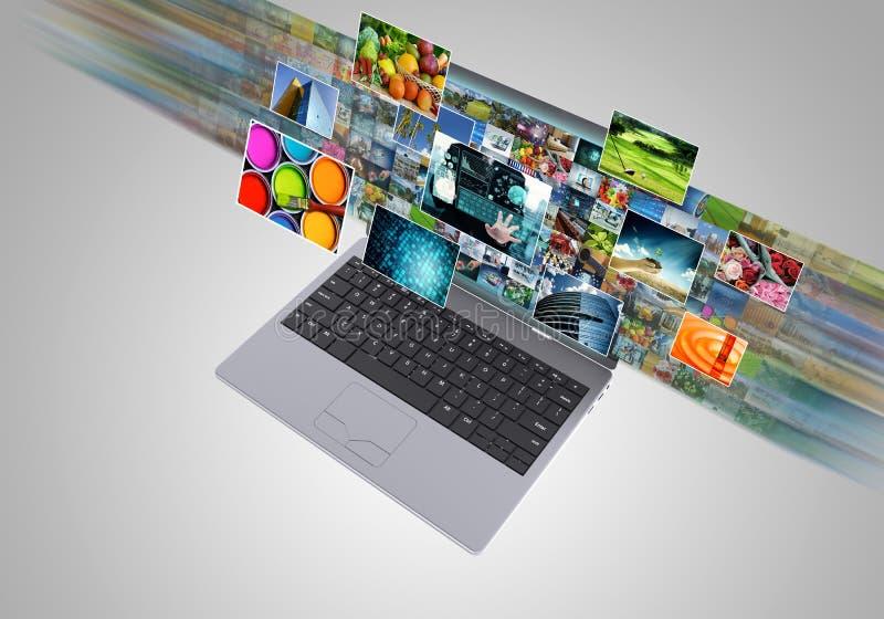 Internet, das Multimediatechnologie Breitband- und geströmt worden sein würden stock abbildung