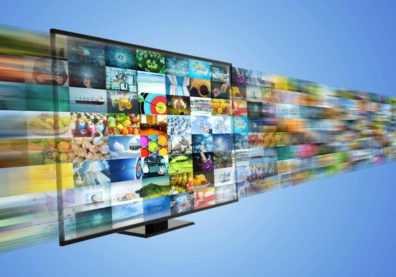 Internet, das Multimediaunterhaltung Breitband- und geströmt worden sein würden lizenzfreie abbildung