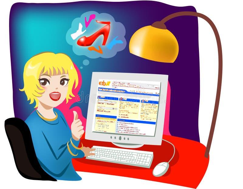 Internet dat online winkelt stock illustratie
