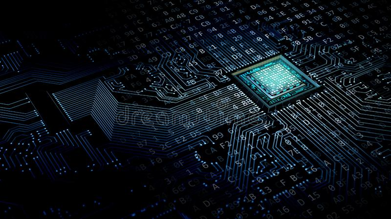 Internet data concept. Internet data processing concept with a motherboard and processor doing computing work.3d render illustration royalty free illustration