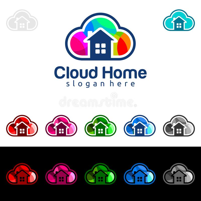Cloud Home, Real Estate vector logo design with House and cloud shape, Represented internet, Data or Hosting. Internet, Data, Hosting vector logo design royalty free illustration