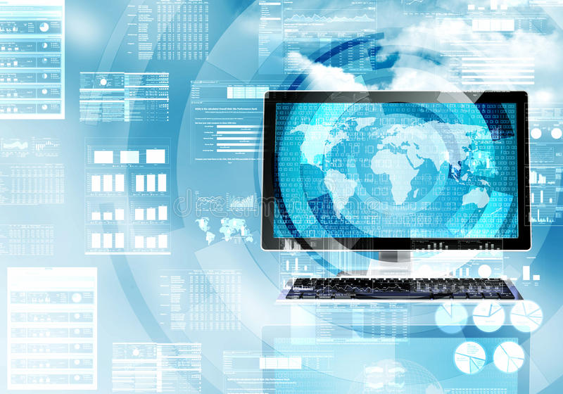 Internet and data processing stock illustration