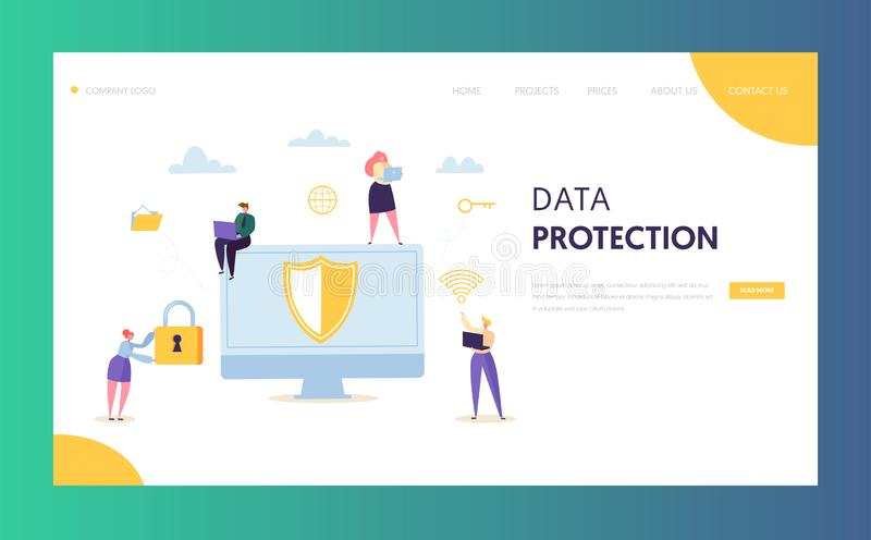 Internet Data Safety Network Landing Page. Business Information Digital Shield Technology Icon Server Privacy Encryption. Internet Data Safety Network Landing vector illustration
