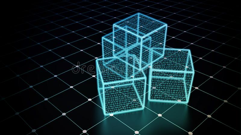 Internet data warehouse management and storage concept. A conceptual image of cubic data or data block in virtual internet world royalty free illustration