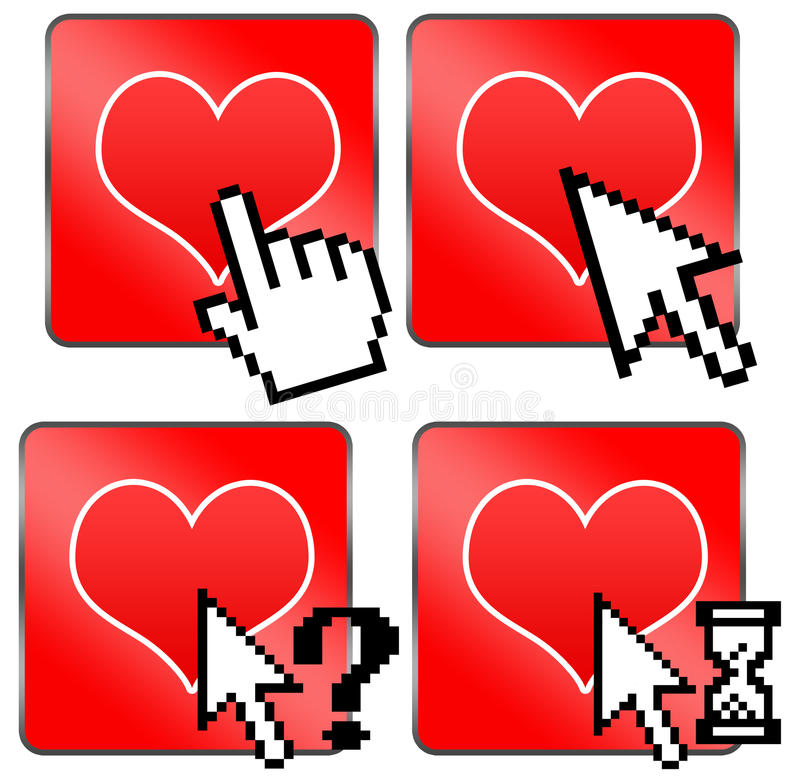 Internet dating. Finding love or a date on internet sites stock illustration