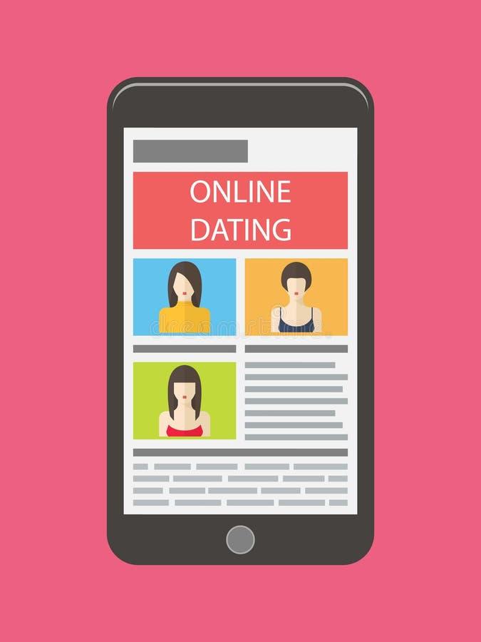 Internet dating, online flirt and relation. Mobile. Service, application stock illustration