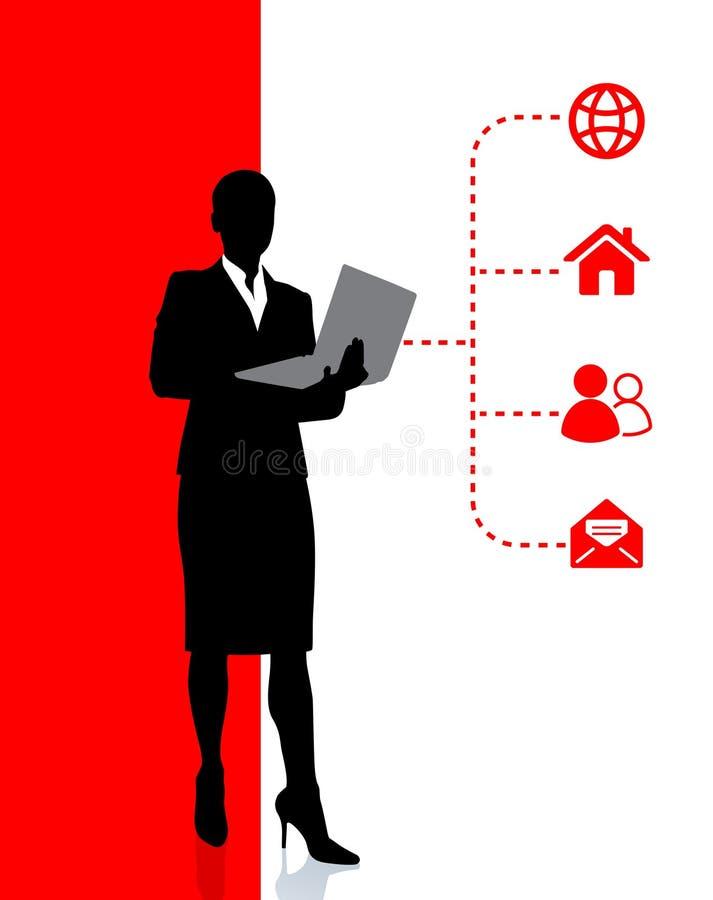 Internet de acceso de la mujer de negocios en la computadora portátil stock de ilustración
